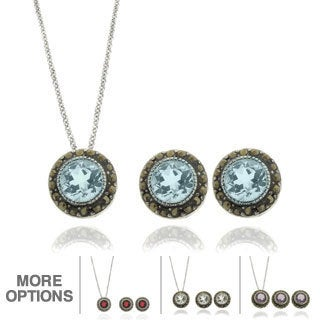 Dolce Giavonna Silver Overlay Gemstone and Marcasite Circle Jewelry Set