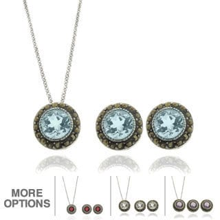 Dolce Giavonna Silverplated Gemstone and Marcasite Circle Jewelry Set