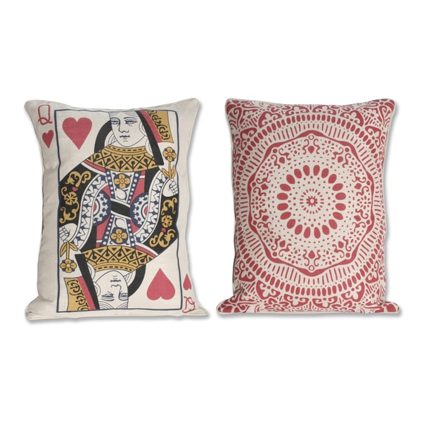 Reversible Queen Card 14x18-inch Decorative Pillow