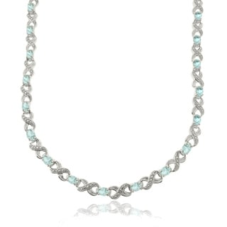 Dolce Giavonna Elle Silver Overlay 14ct TGW Blue Topaz and Diamond Accent Infinity Link Necklace