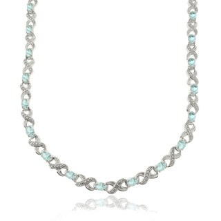 Dolce Giavonna Silverplated 14ct TGW Blue Topaz and Diamond Accent Infinity Link Necklace