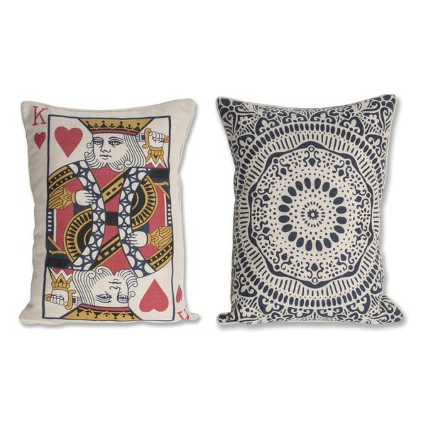 Reversible King Card Reversable 14x18-inch Decorative Pillow