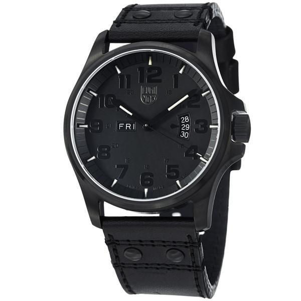 Luminox Men's 'Field' Black Dial Black Leather Strap Quartz Watch