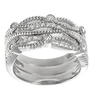 Tressa Sterling Silver Cubic Zirconia Stackable 3-piece Ring Set