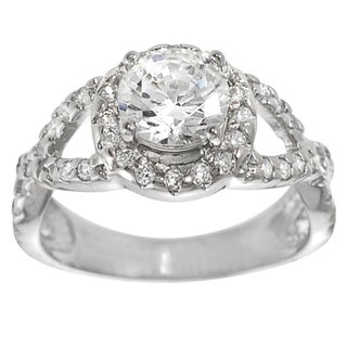 Tressa Sterling Silver White Cubic Zirconia Engagement Ring