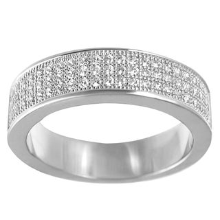 Journee Collection Sterling Silver Pave-set Cubic Zirconia Eternity Ring
