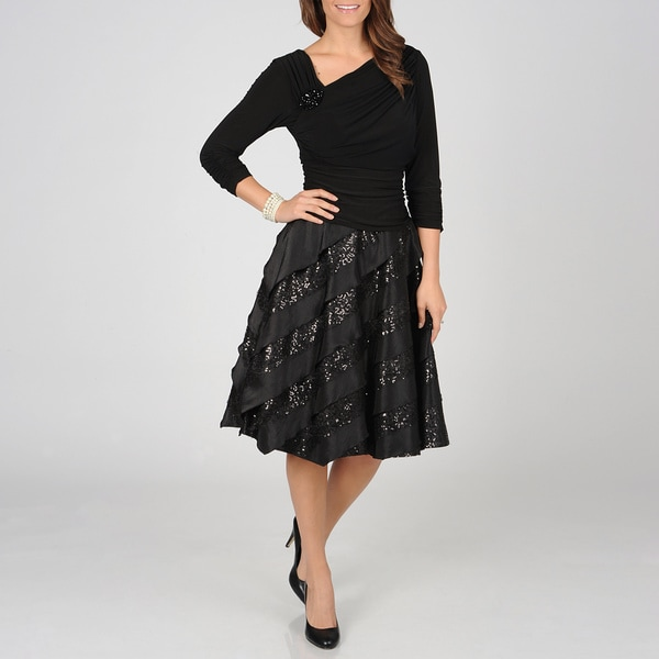 S.L. Fashions Women's Black Faux Seperates Party Dress