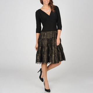 S.L. Fashions Women's Faux Seperates Metallic Lace Party Dress