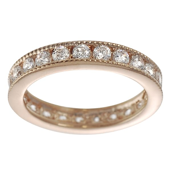 Journee Collection Rose Goldplated Sterling Silver Cubic Zirconia Eternity Ring