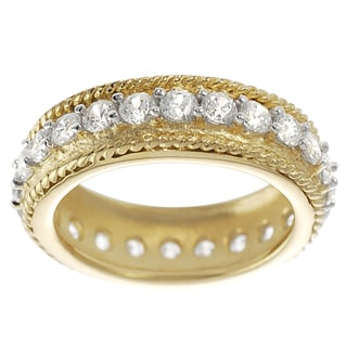 Tressa Goldplated Sterling Silver Cubic Zirconia Vintatge Eternity Ring