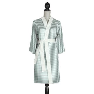 Women's Organic Cotton White and Teal Stripe Robe