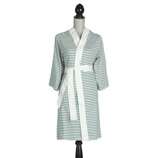 Women's Organic Cotton White and Teal Stripe Bath Robe