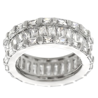 Tressa Collection Silver Emerald-cut CZ Engagement-style Ring