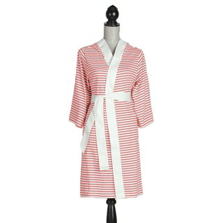 Women's Organic Cotton White and Rose Stripe Robe