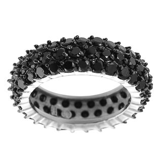 Journee Collection  Glam-inspired Sterling Silver Black Cubic Zirconia Eternity Ring