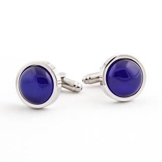 Cuff Daddy Silvertone Royal Blue Catseye Cuff Links