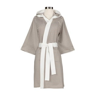 Women's Organic Cotton White and Tan Stripe Bath Robe