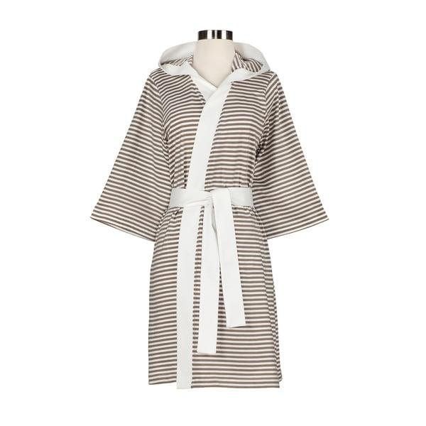 Women's Organic Cotton White and Tan Stripe Bath Robe