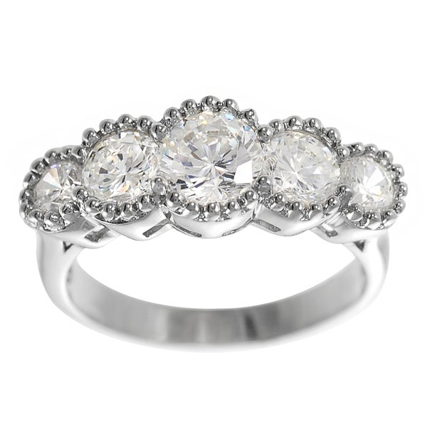 Journee Collection Silver CZ 5-stone Vintage Engagement-style Ring