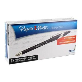 Paper Mate Flexgrip Elite Retractable Medium Point 1.0 mm Ballpoint Pens (Pack of 12)