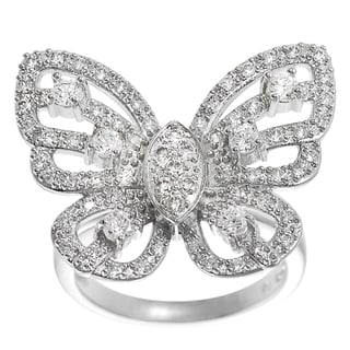 Journee Collection Sterling Silver Cubic Zirconia Butterfly Statement Ring
