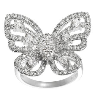 Tressa Sterling Silver Cubic Zirconia Butterfly Statement Ring