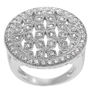 Journee Collection Sterling Silver Cubic Zirconia Vintage Statement Ring