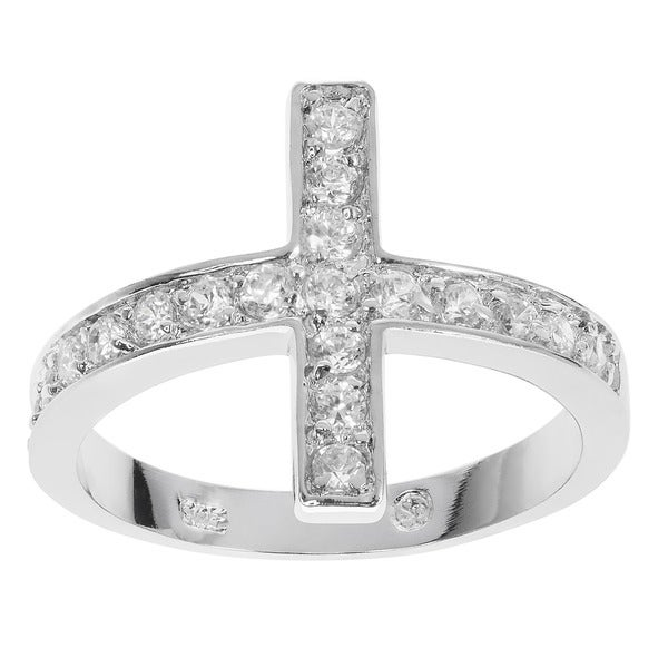 Journee Collection Sterling Silver Cubic Zirconia Holy Sideways Cross Ring