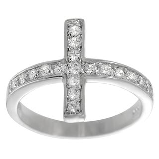 Tressa Sterling Silver Cubic Zirconia Holy Sideways Cross Ring