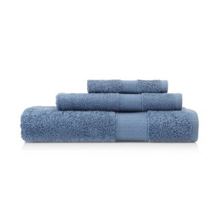 Pima Cotton Diamond Tile Border Denim 3-piece Towel Set
