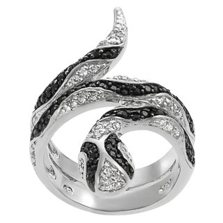 Tressa Two-tone Sterling Silver Black White Cubic Zirconia Snake Ring