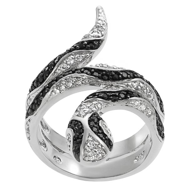 Journee Collection Two-tone Sterling Silver Black White Cubic Zirconia Snake Ring