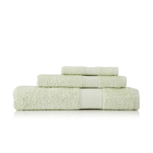 Pima Cotton Diamond Tile Border Celery 3-piece Towel Set