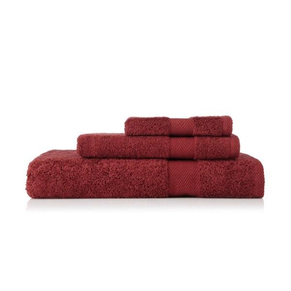 Pima Cotton Chevron Border Maroon 3-piece Towel Set