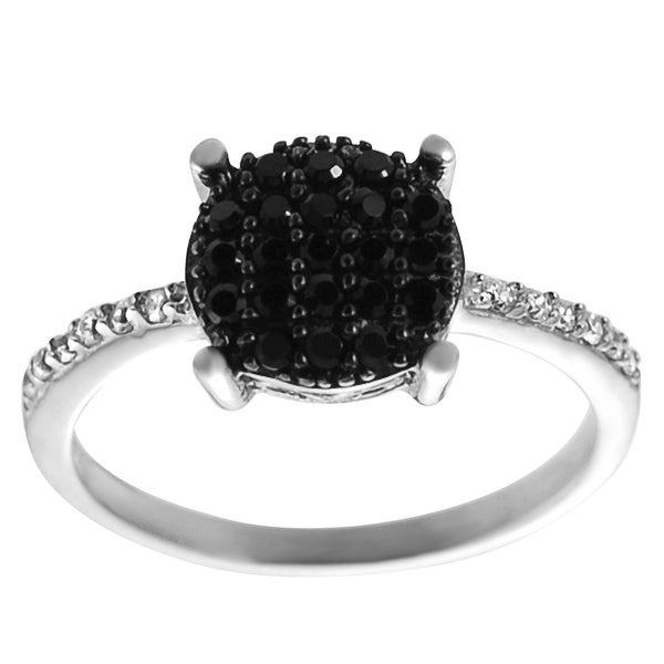 Journee Collection Two-tone Sterling Silver Black and White Cubic Zirconia Ring