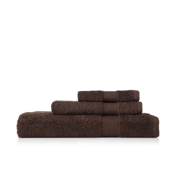 Pima Cotton Chevron Border Dark Brown 3-piece Towel Set