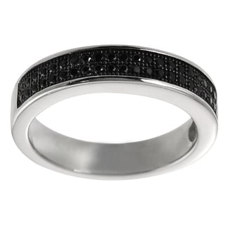 Tressa Highly Polished Sterling Silver Black Cubic Zirconia Eternity Ring