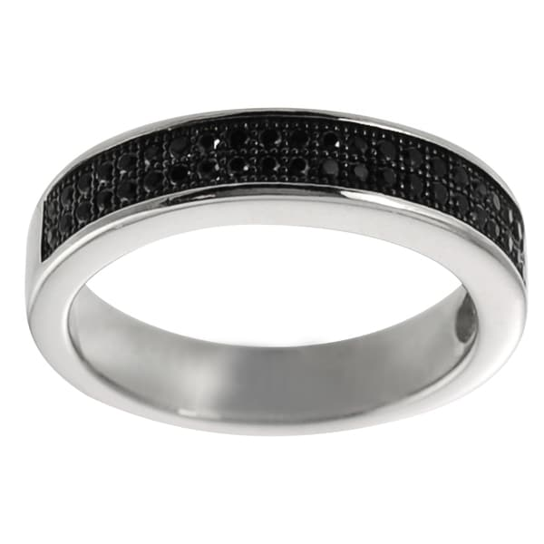 Journee Collection Highly Polished Sterling Silver Black Cubic Zirconia Eternity Ring