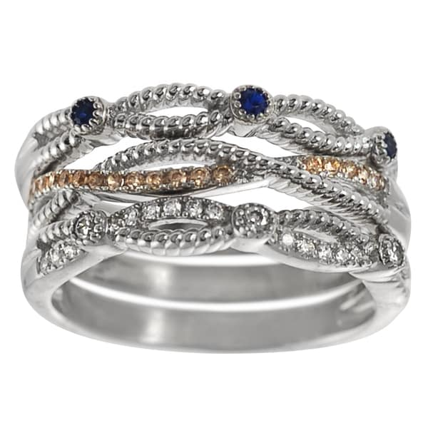 Journee Sterling Silver Cubic Zirconia Stackable 3-color Ring Set