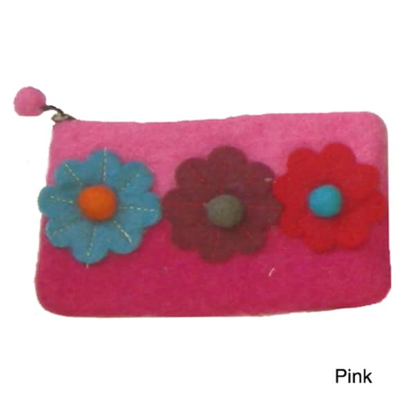 Felted Coinpurse With Appliqued Flowers (Nepal)
