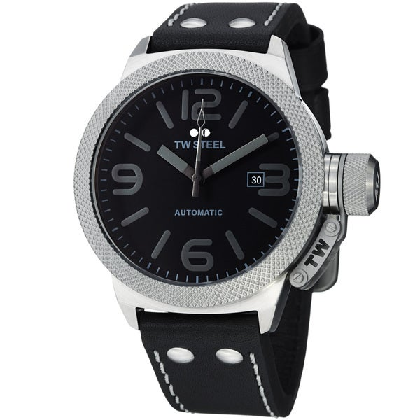 TW Steel Men's 'Canteen' Black Dial Black Leather Strap Quartz Watch
