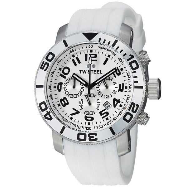 TW Steel Men's TW94 'Grandeur Dive' White Dial Chronograph Strap Watch