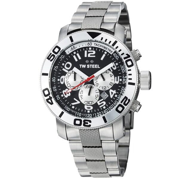 TW Steel Men's 'Grandeur Dive' Black Dial Stainless Steel Watch