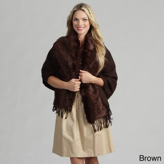 Tabeez Women's Faux Fur Shawl Cape
