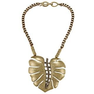ABS by Allen Schwartz CZ Leaf Pendant Fashion Necklace