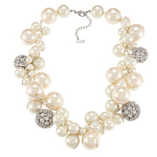 ABS by Allen Schwartz Silvertone Cluster Pearl CZ Fashion Necklace