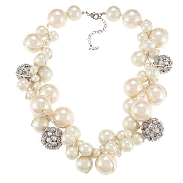 ABS by Allen Schwartz Silvertone Cluster Pearl CZ Fashion Necklace