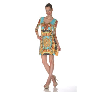 White Mark Women's 'Monte Carlo' Gold/ Turquoise Mix Print Dress