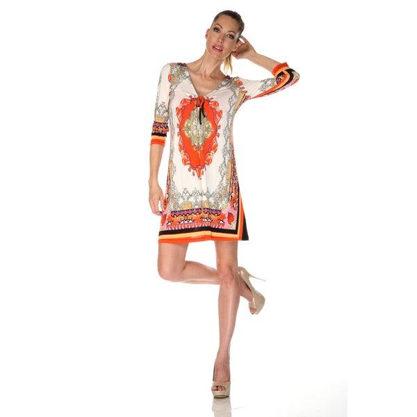 White Mark Women's 'Monte Carlo' Ivory/ Orange Mix Print Dress