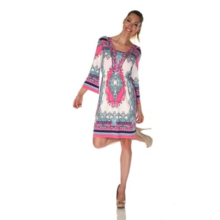 White Mark Women's 'Venezia' Ivory/ Pink Mix Print Dress